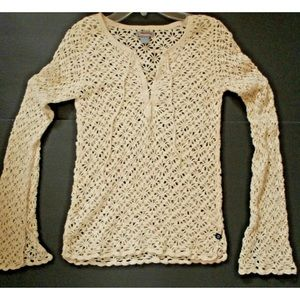 Hollister Womens SZ Jr S Ivory Crochet Knit top